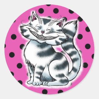 チェシャーの子猫のファッションのステッカー ラウンドシール