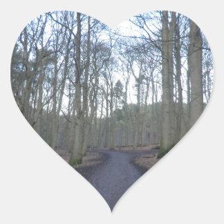 チェシャーのDelamereの森林を通した道 ハートシール