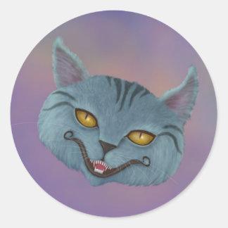 チェシャー猫のスマイルの円形のステッカー ラウンドシール