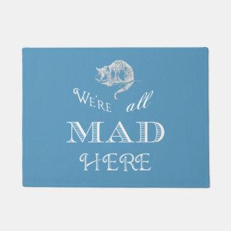 チェシャー猫の気違いのアリスの青の玄関マット ドアマット