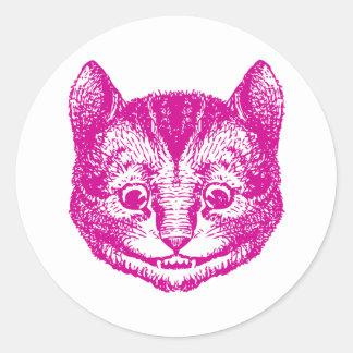 チェシャー猫はピンクにインクをしみ込ませました ラウンドシール