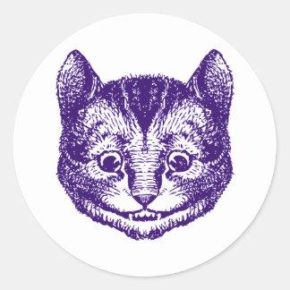 チェシャー猫は紫色にインクをしみ込ませました ラウンドシール