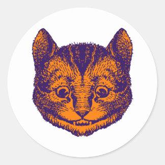 チェシャー猫は紫色のオレンジにインクをしみ込ませました ラウンドシール