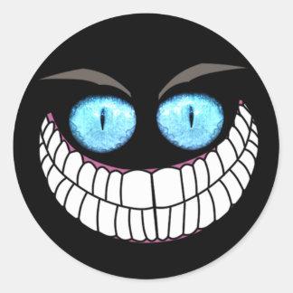 チェシャー猫-青い目のステッカー ラウンドシール