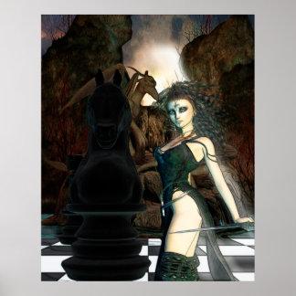 チェスのファンタジーのゴシック様式芸術 ポスター