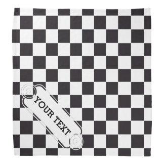 チェスの正方形パターン-黒 + あなたの文字及びbackgr. バンダナ