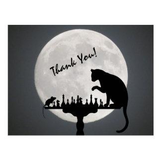 チェスの満月の猫およびマウスのゲームは感謝していしています! ポストカード