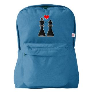 チェスの王および女王愛 AMERICAN APPAREL™バックパック