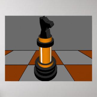 チェスの騎士チェス盤の金ゴールドCricketDiane ポスター