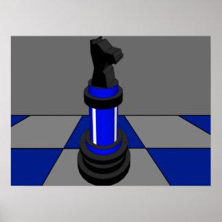 チェスの騎士チェス盤の青CricketDiane ポスター