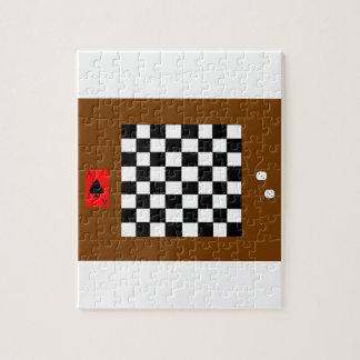 チェス盤、サイコロおよび遊ぶカード ジグソーパズル