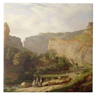 チェダー峡谷(キャンバスの油)の眺め タイル