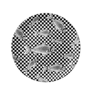 チェッカーの装飾的な磁器皿の魚 磁器プレート