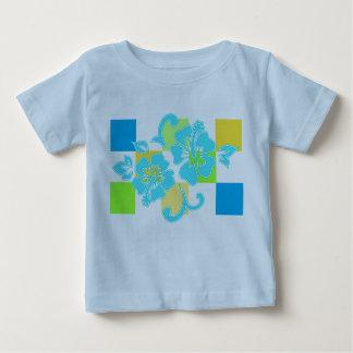 チェッカーボードのハイビスカスの幼児及び乳児のティー ベビーTシャツ