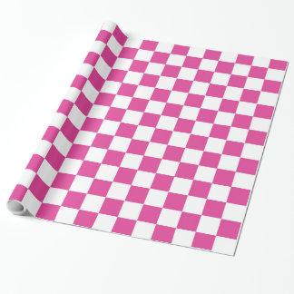 チェッカーボードのピンクの包装紙 ラッピングペーパー