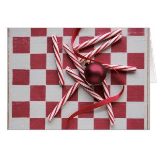 チェッカーボードのペパーミントのクリスマス カード