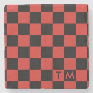 チェッカーボードのモノグラム赤くか黒いCMXR ストーンコースター