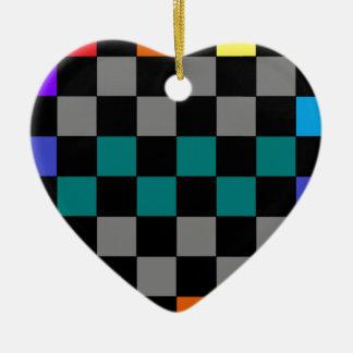 チェッカーボードの灰色の虹のターコイズ青緑色の2 セラミックオーナメント