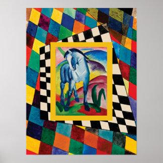 チェッカーボードの青い馬 ポスター