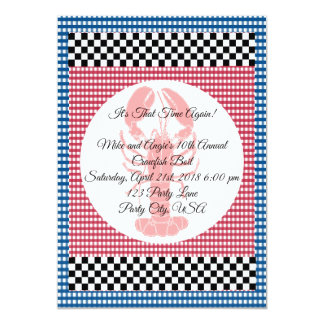 チェッカーボードの青および赤いギンガムのCrawfishの沸騰 カード