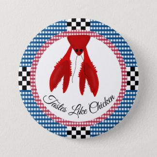 チェッカーボードの青および赤いギンガムのCrawfishの沸騰 缶バッジ