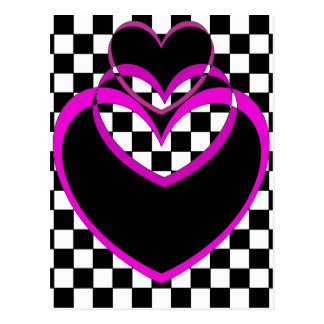 チェッカーボードのPopartのハートのデキセドリン錠のバレンタイン ポストカード