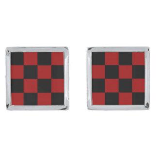 チェッカーボードも! (正方形のタイルのデザインの) ~ シルバー カフスボタン