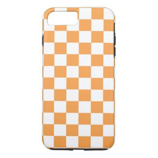 チェック模様のオレンジタイルの設計 iPhone 8 PLUS/7 PLUSケース