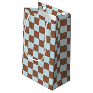 チェック模様のパステル調の青およびブラウン スモールペーパーバッグ
