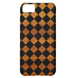 チェック模様のパターン + 木の質 iPhone5Cケース