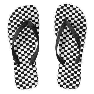 チェック模様のパターン、F1レース ビーチサンダル