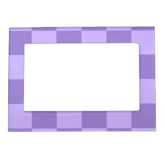 チェック模様の大きい-すみれ色および薄紫 マグネットフレーム