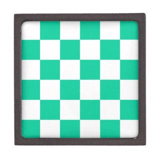 チェック模様の大きい-白いおよびカリブの緑 ギフトボックス
