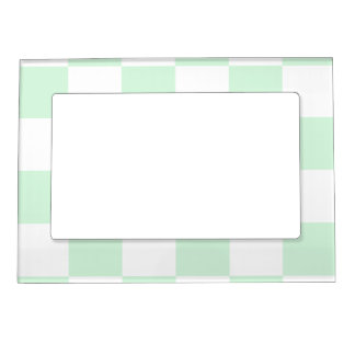 チェック模様の大きい-白いおよびパステル調の緑 マグネットフレーム