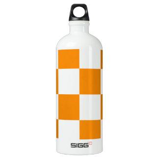 チェック模様の大きい-白および蜜柑 ウォーターボトル