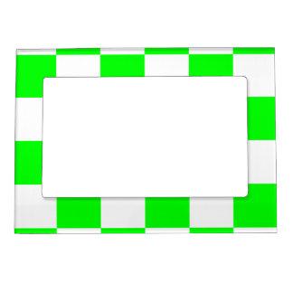 チェック模様の大きい-白く、電気緑 マグネットフレーム