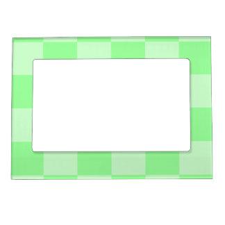 チェック模様の大きい-緑および薄緑 マグネットフレーム