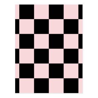 チェック模様の大きい-黒いおよび淡いピンク ポストカード