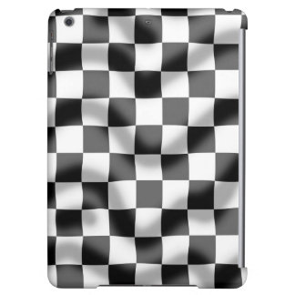 チェック模様の旗のわずかなさざ波のiPadの空気箱