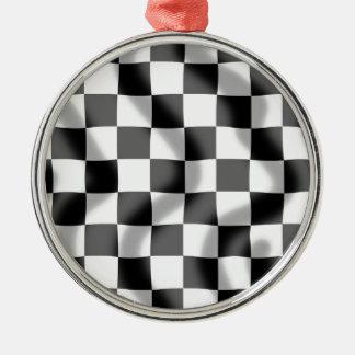 チェック模様の旗の円形の飾り金具 メタルオーナメント