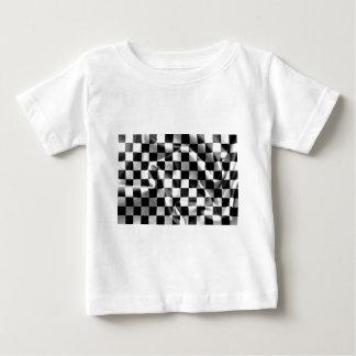 チェック模様の旗の赤ん坊のTシャツ ベビーTシャツ