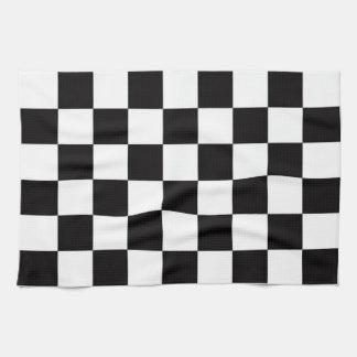 チェック模様の旗 キッチンタオル