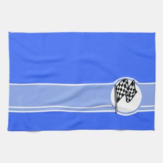チェック模様の旗; 青い キッチンタオル