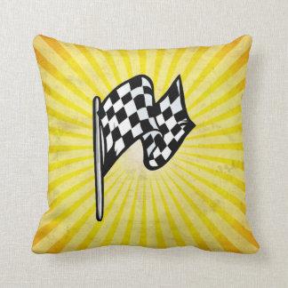チェック模様の旗; 黄色 クッション