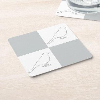 チェック模様の灰色及び白い鳥のコースター スクエアペーパーコースター