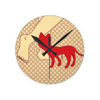 チェック模様の猫 ラウンド壁時計