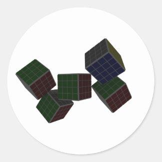 チェック模様の立方体 ラウンドシール