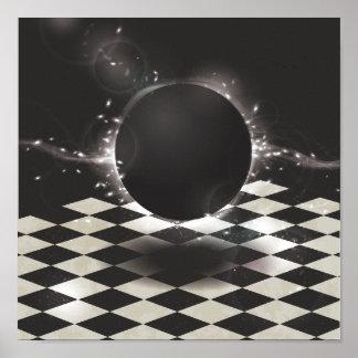 チェック模様の背景の黒い球体 ポスター