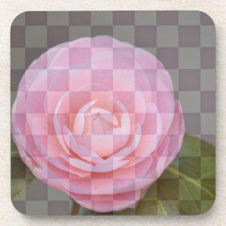 チェック模様の花柄 コースター