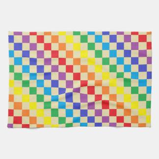 チェック模様の虹ベージュ色 キッチンタオル